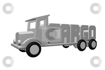 Cargo stock photo, The word cargo on an old truck - 3d illustration by J?