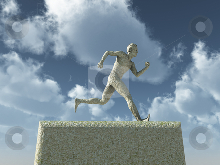 Runnning man stock photo, Running man sculpture in front of blue cloudy sky - 3d illustration by J?