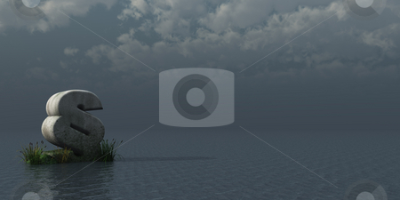 Law stock photo, Paragraph symbol at the ocean - 3d illustration by J?