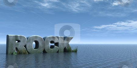 Rock stock photo, Rock stone on water landscape - 3d illustration by J?