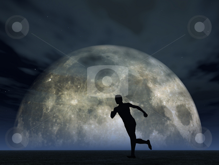 Moonshine jogger stock photo, Jogging man and full moon - 3d illustration by J?