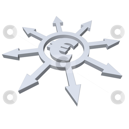Banking stock photo, Ring with arrows in all directions and euro symbol - 3d illustration by J?