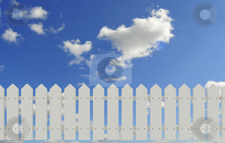Fence and sky stock photo, White fence and blue sky by Magnus Johansson