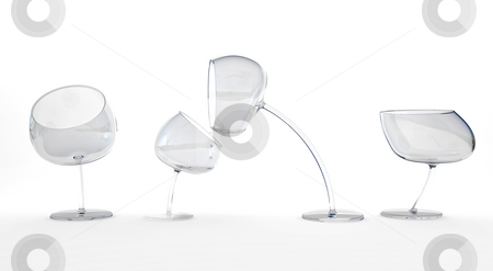 Living wineglasses stock photo, Four wineglasses moving around on white by Magnus Johansson
