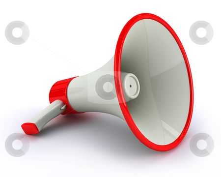 Megaphone stock photo, Very high resolution megaphone on white background by Magnus Johansson
