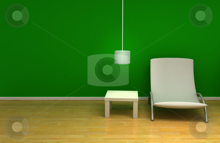 Green room stock photo, Room with green wall and furniture by Magnus Johansson