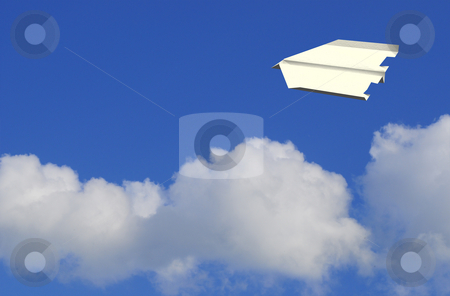 Air mail stock photo, Paper plane high up in the air by Magnus Johansson