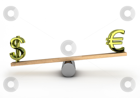Heaviest currency stock photo, Euro and dollar on a see-saw to test wich one is the heaviest by Magnus Johansson