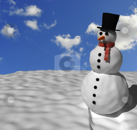 Snowman  stock photo, Nice looking snowman with perfect blue sky in the background. by Magnus Johansson