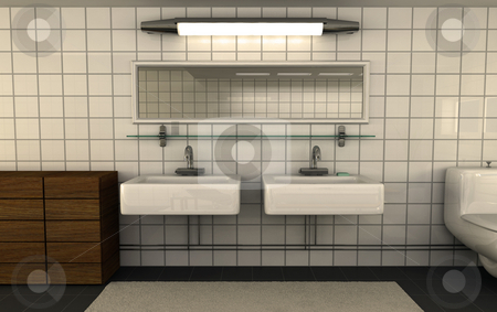 Shiny clean bathroom stock photo, Superfresh clean newbuild bathroom by Magnus Johansson