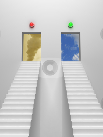 Right way or wrong way stock photo, Two stairs leading to different states of environment. by Magnus Johansson