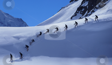 Perfect powder stock photo, Snowboarder on a perfect powder day by Magnus Johansson