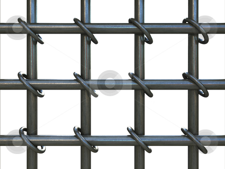Prison bars stock photo, Prison bars isolated over white by Magnus Johansson