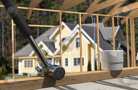Construction lifestyle  stock photo, Construction lifestyle closeup, with luxury home in the background by Magnus Johansson