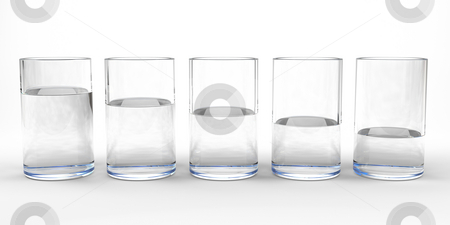 Water glasses stock photo, Five drinking glasses with different level of water in each by Magnus Johansson