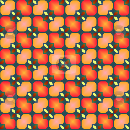 Festive flower pattern stock photo, Seamless texture of abstract red to orange flower shapes by Wino Evertz