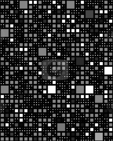 Dark block pattern stock photo, Monochrome seamless texture of black to white squares in different sizes by Wino Evertz