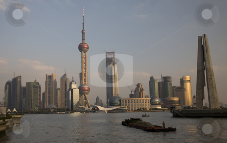 Shanghai Pudong TV Tower with Barge Boat stock photo, Shanghai Pudong TV Tower with Barge BoatTrademarks removed. by William Perry