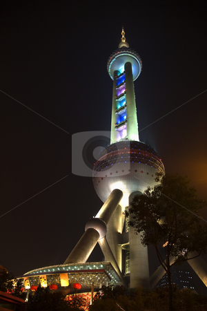 Shanghai TV Tower Chinese Lanterns at Night Pudong China stock photo, Shanghai TV Tower Chinese Lanterns at Night Pudong China Trademarks removed. by William Perry