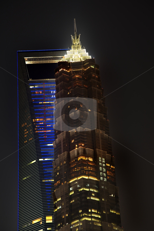 Large Financial Center Skyscrapers at Night Shanghai China stock photo, World Financial Center Jinmao Tower Modern Skyscrapers at Night Shanghai China by William Perry