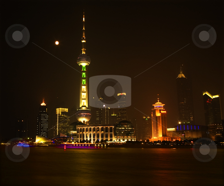 Shanghai Pudong China Skyline at Night Relections and Moon stock photo, Shanghai Pudong China Skyline at Night TV Tower with Boats, Reflections and Moon