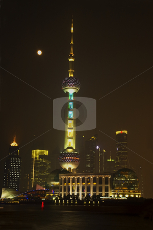 Shanghai Pudong Skyline at Night TV Tower with Moon stock photo, Shanghai Pudong Chna Skyline at Night with TV Tower with Moon and Reflections
