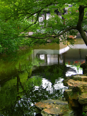 Suzhou Garden of the Humble Administrator China stock photo, Garden of the Humble Administrator, Reflection Chinese Pagoda in Water, Suzhou, China by William Perry