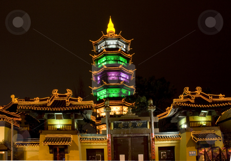Taoist Temple Wuxi Jiangsu China at Night stock photo, Taoist Temple in the middle of Wuxi City, Jiangsu Province, China by William Perry