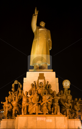 Mao Statue Front View With Heroes Zhongshan Square, Shenyang, Ch stock photo, Mao Statue Heroes, Zhongshan Square, Shenyang, Liaoning Province, China at Night Lights Famous Statue built in 1969 in middle of Cultural Revolution.  Hero holding up a book of Mao Zedong thought. by William Perry