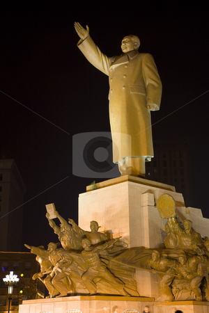 Mao Statue Side View With Heroes Zhongshan Square, Shenyang, Chi stock photo, Mao Statue Heroes, Zhongshan Square, Shenyang, Liaoning Province, China at Night Lights Famous Statue built in 1969 in middle of Cultural Revolution. by William Perry
