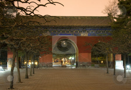 Red Gate Temple of Sun Park Beijing, China stock photo, Red Gate, Temple of Sun Park, Beijing, China Evening, Night Shot by William Perry