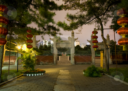 Ancient Temple of Sun and Lanterns Beijing China Night stock photo, Ancient Temple of the Sun With Red Lanterns Stone Gate Altar Beijing, China Night Shot by William Perry