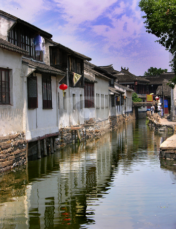 Zhou Zhuang China Ancient City Reflections from Canals stock photo, Zhou Zhuang Ancient Chinese City Outside of Shanghai, Reflections from Canals on a Sunny day by William Perry