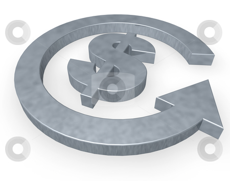 Dollar stock photo, Dollar sign and cycle pointer on white background - 3d illustration by J?