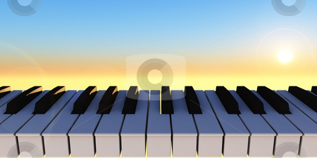 Symphony stock photo, Piano keyboard and sunny sky - 3d illustration by J?