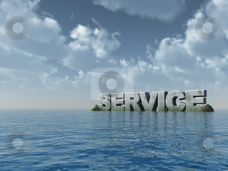 Service stock photo, The word service at the ocean - 3d illustration by J?