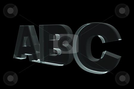 Abc stock photo, The letters ABC in glass on black background - 3d illustration by J?