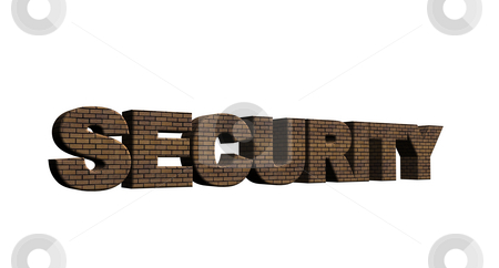 Security stock photo, The word security bricked on white background - 3d illustration by J?