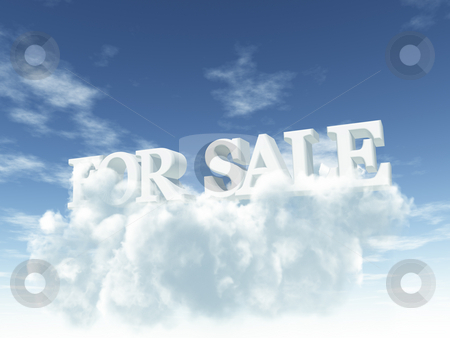 For sale stock photo, The words for sale on clouds - 3d illustration by J?