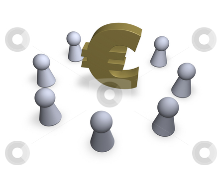 Centre stock photo, Euro sign and circle of play figures - 3d illustration by J?