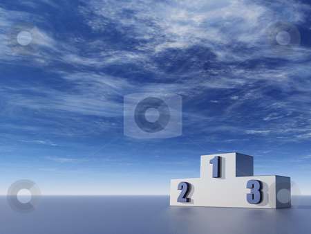 The best stock photo, Winner podium in front of blue sky - 3d illustration by J?