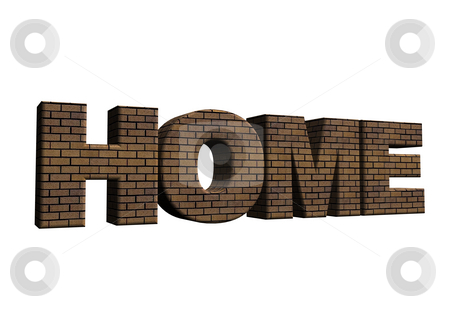 Home stock photo, Bricked word home on white background - 3d illustration by J?