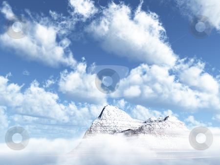 Mountains stock photo, Mountains peak  and cloudy sky - 3d illustration by J?