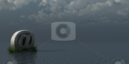 Email stock photo, Stone email alias at the ocean - 3d illustration by J?