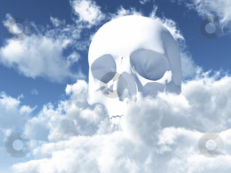 Skull stock photo, White skull in clouds - 3d illustration by J?