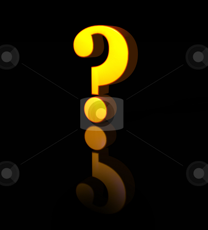 Quest stock photo, Golden question mark on black background - 3d illustration by J?