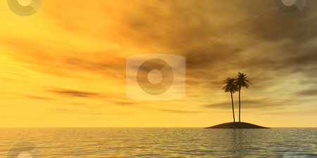 Lonely stock photo, Three palms on lonely island - 3d illustration by J?