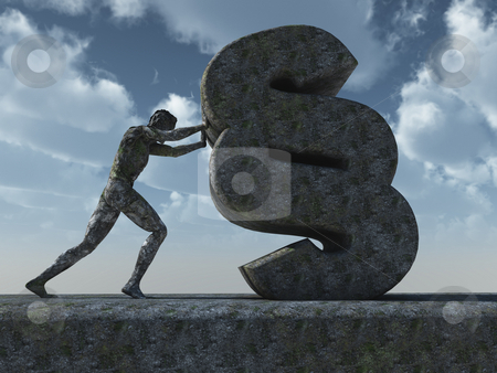 Law stock photo, Sculpture - man pushes a paragraph symbol in front of cloudy sky- 3d illustration by J?