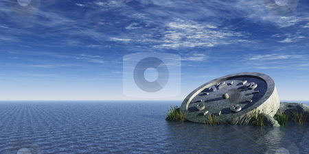 Time stock photo, Stone clock at the ocean - 3d illustration by J?