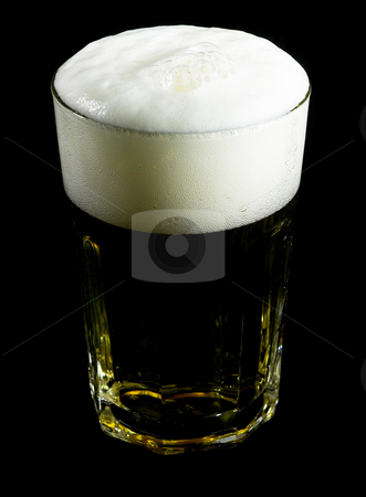 Glass of beer stock photo, Glass of lager  beer over black background by Francesco Perre